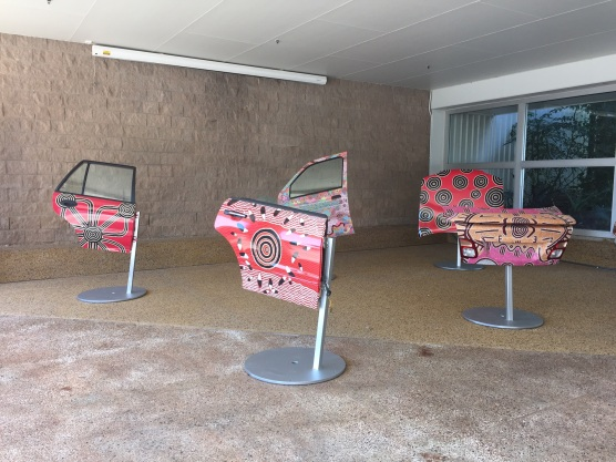 """On display at MAGNT--art by Aboriginal artist, """"Michael"""""""